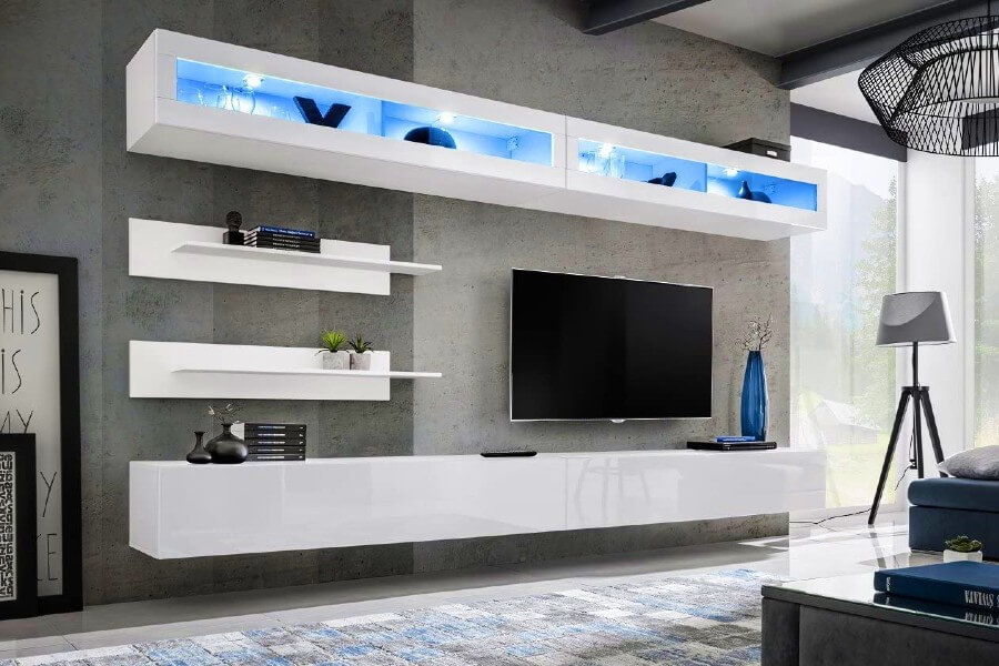 Meble Furniture & Rugs Wall Mounted Floating Modern Entertainment Center